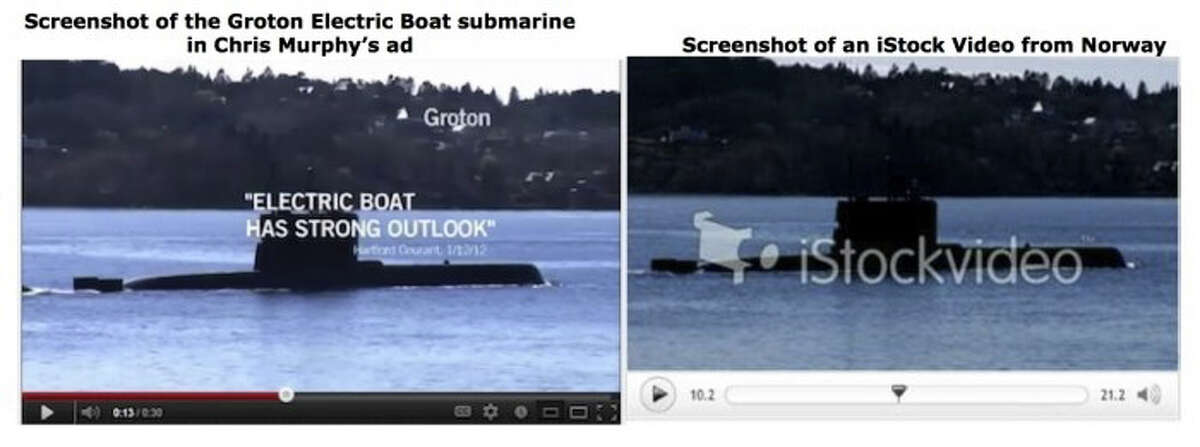 Screenshot left pulled from Chris Murphy campaign ad depicting a Groton Electric Boat submarine, and screenshot right of an iStock Video from Norway.