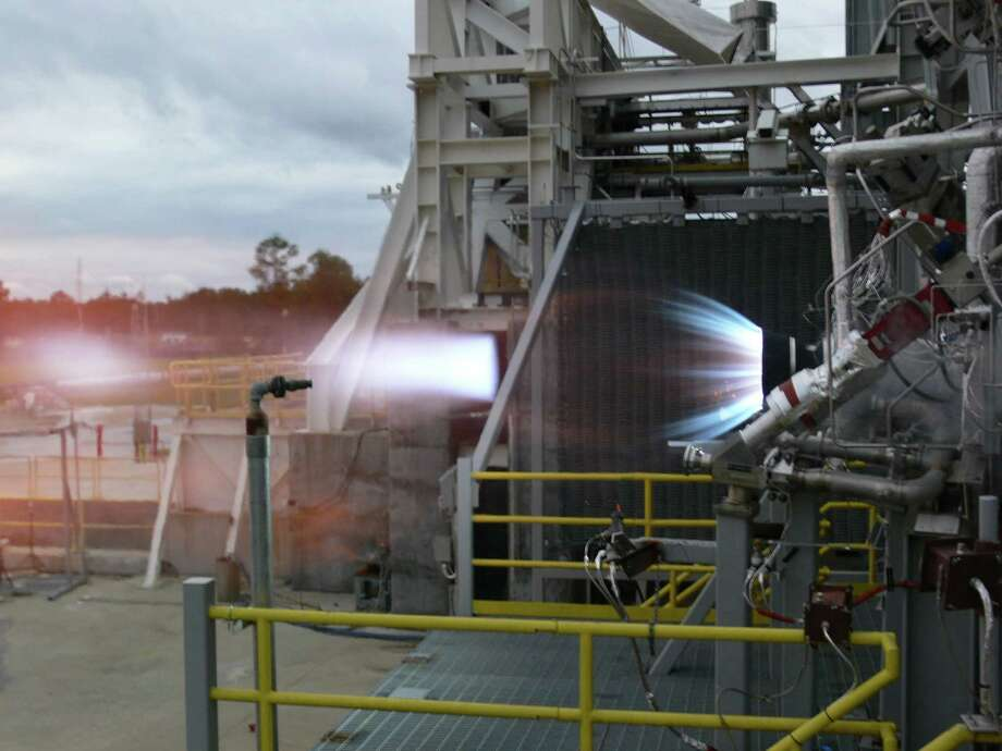 Blue Origin, a Kent-based spaceflight company founded by Amazon founder Jeff Bezos, successfully fired the thrust chamber assembly for a new rocket engine earlier this month, the company and NASA announced Monday. Blue Origin is one of several private companies working with NASA on rockets to carry astronauts and cargo to the International Space Station. The new 100,000 pound thrust BE-3 liquid oxygen, liquid hydrogen rocket thrust chamber fired to its full power level at NASA's Stennis Space Center near Bay St. Louis, Miss. Photo: Blue Origin/NASA
