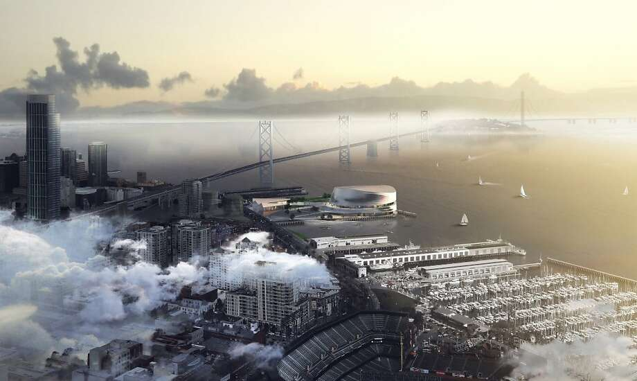 The Warriors' proposal for the S.F. waterfront site includes a 17,500-seat arena on the southeast corner of Piers 30-32, shed-like retail buildings along the Embarcadero, and 8 acres of terraced plazas in between. Photo: Sn¿hetta And AECOM/Golden State