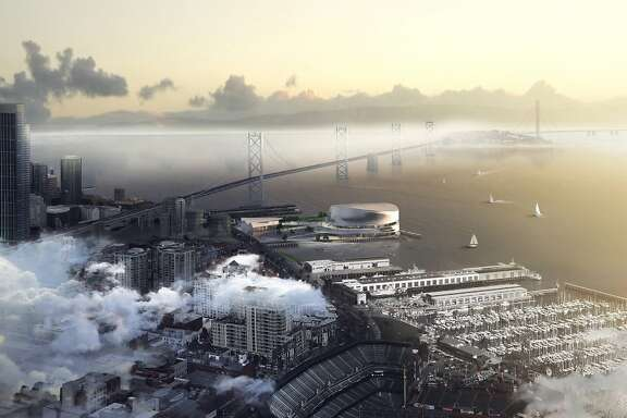 The Golden State Warriors' arena proposal for the San Francisco waterfront includes a 17,500-seat venue on the southeast corner of Piers 30-32, warehouse-like retail buildings along the Embarcadero, and roughly eight acres of terraced parks and plazas in-between.