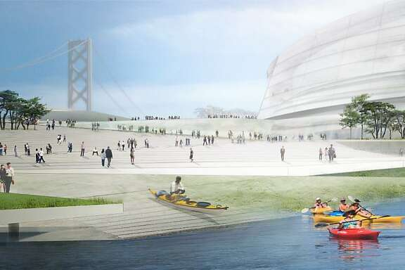 The Golden State Warriors' arena proposal for the San Francisco waterfront. Proposition B would limit high-rise  development.