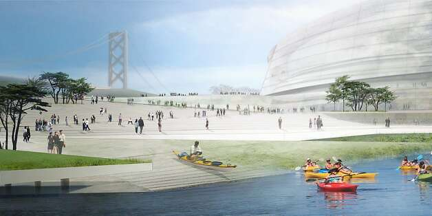 The Golden State Warriors' waterfront arena proposal keeps the kayak ramp but now includes a wider berth for big ships. Photo: Sn¿hetta And AECOM/Golden State