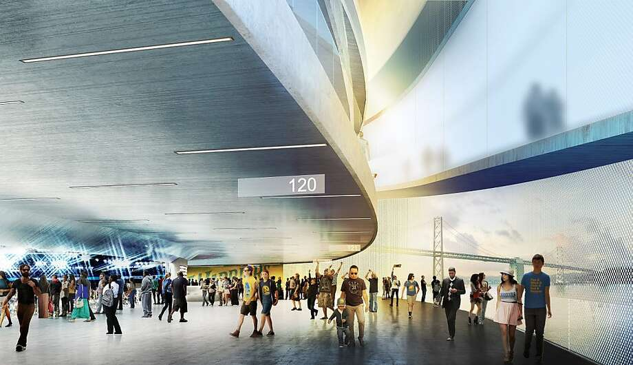 The arena plan includes a 17,500-seat venue at Piers 30-32, retail buildings and terraced parks and plazas. Photo: Sn¿hetta And AECOM/Golden State