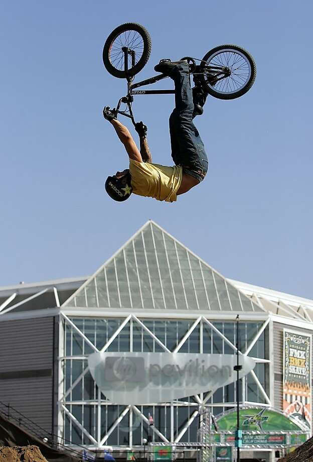 Two-wheeled BMX tricksters will occupy Civic Center Plaza. Photo: Marcio Jose Sanchez, AP