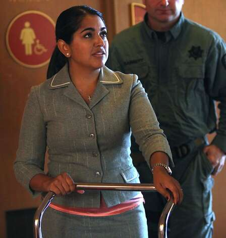 Prosecutor Yvette Martinez-Shaw  leaving the courtroom in Marin, Calif., after doing closing arguments at Max Wade's hearing on Monday, October 15, 2012.  Max Wade, 18 years old, is accused of attempting to kill two people in Mill Valley and stealing a Lamborghini in San Francisco. Photo: Liz Hafalia, The Chronicle