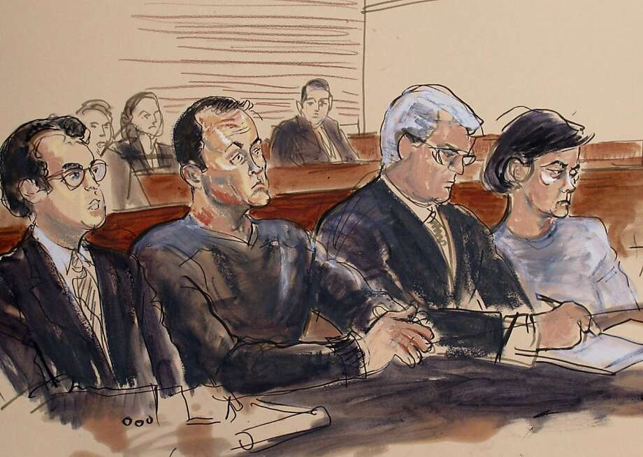 """Former stockbroker Mark Hotton (second from left), accused of fraud in the production of """"Rebecca,"""" appears at an arraignment in U.S. District Court in Central Islip, N.Y., in a sketch. Photo: Elizabeth Williams, Associated Press"""