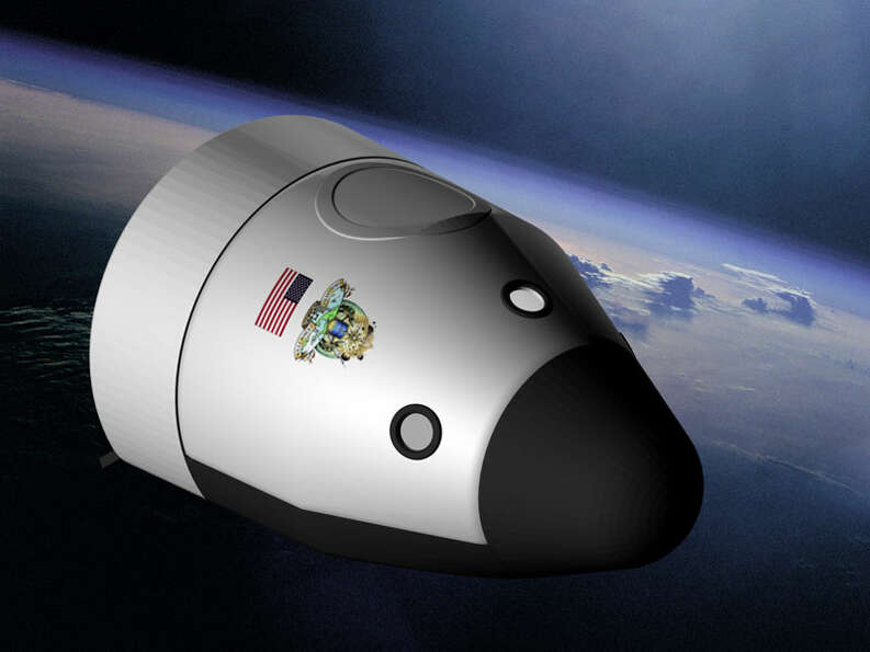 A depiction of Blue Origin's planned Biconic Space Vehicle, which would carry astronauts and supplie