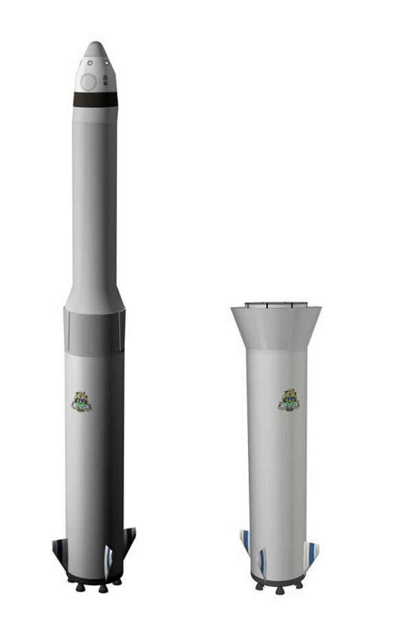 A depiction of Blue Origin's planned reusable booster system. The after lifting Blue Origin's orbital Biconic Space Vehicle, the booster would make a vertical powered landing. Photo: Blue Origin