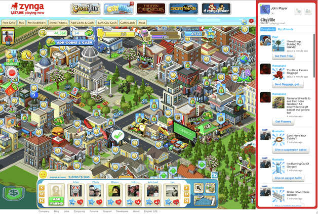 Zynga unveils a new social gaming platform, this is a screenshot of the cityville game. Photo: Zynga.com