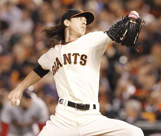 Giants' pitcher Tim Lincecum takes over for Madison Bumgarner in the fifth inning during game 1 of the NLCS at AT&T Park on Sunday, Oct. 14, 2012 in San Francisco, Calif. Photo: Brant Ward, The Chronicle