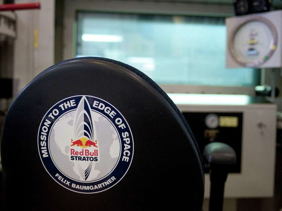 A Red Bull Stratos decal is seen on a chair in the control center of the hypobaric chamber where Austrian skydiver Felix Baumgartner trained for his supersonic free-fall, Monday, Oct. 15, 2012, at Wyle Science and Technology Engineering Group, at Brooks City-Base in San Antonio.