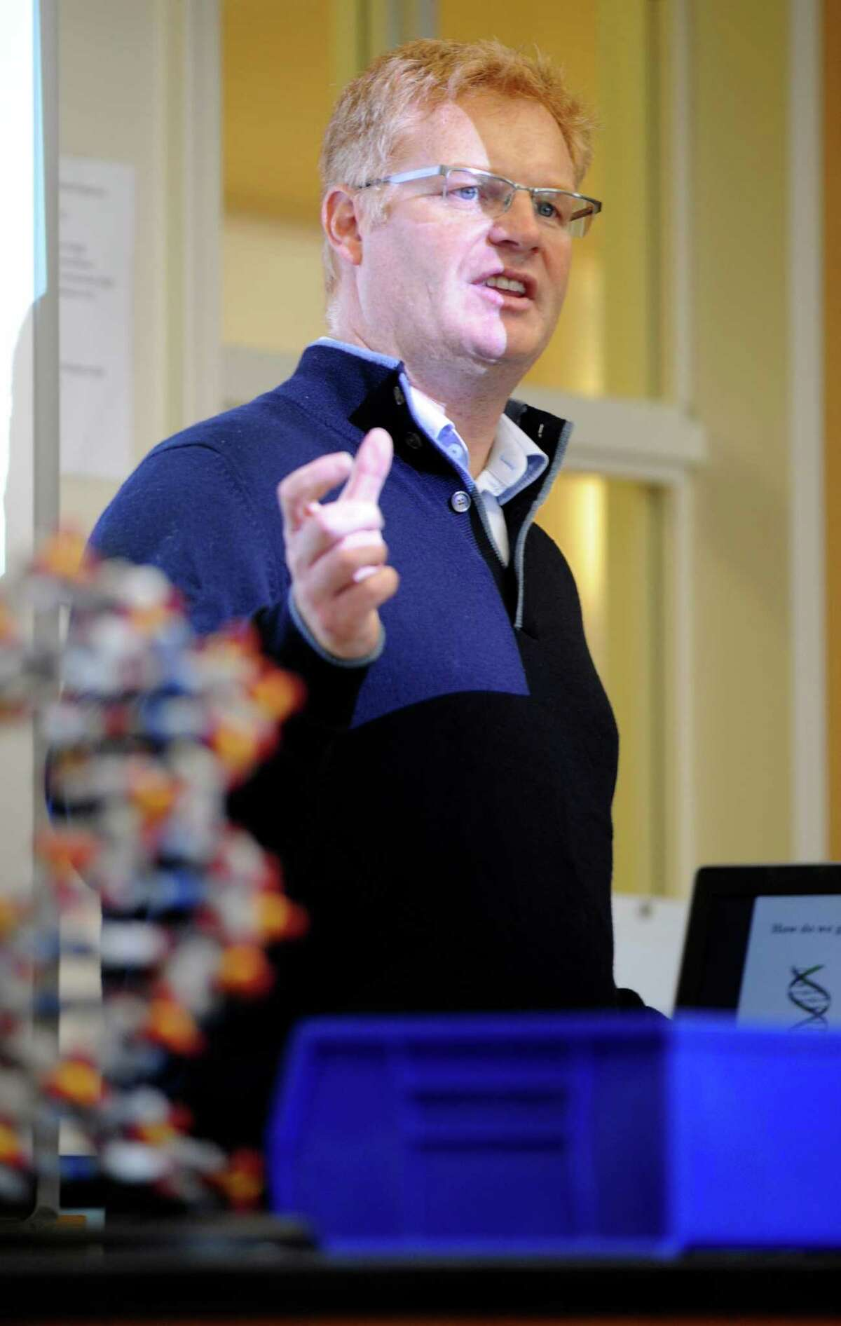 Dr. Bruce Nash, of the Cold Spring Harbor Laboratory, speaks with Upper School classes to discuss gene therapy at Convent of the Sacred Heart on Monday, October 15, 2012. Convent of the Sacred Heart is the third school, and the first Connecticut-based school, to become a charter member of the Cold Spring Harbor genetics lab.