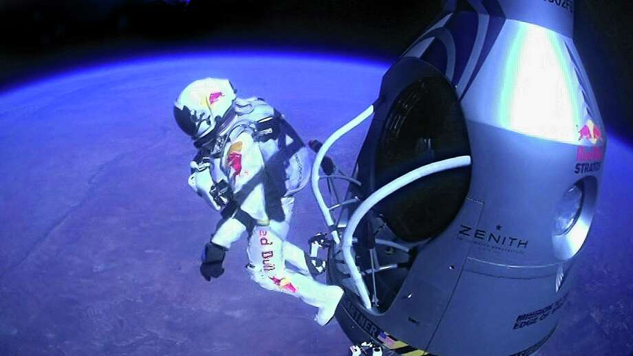 Daredevil Felix Baumgartner of Austria trained for days during two visits to the altitude chamber at San Antonio's Brooks City Base in preparation for his world record-setting jump from a balloon nearly 24 miles above the Earth. Photo: Handout / 2012 Red Bull Stratos