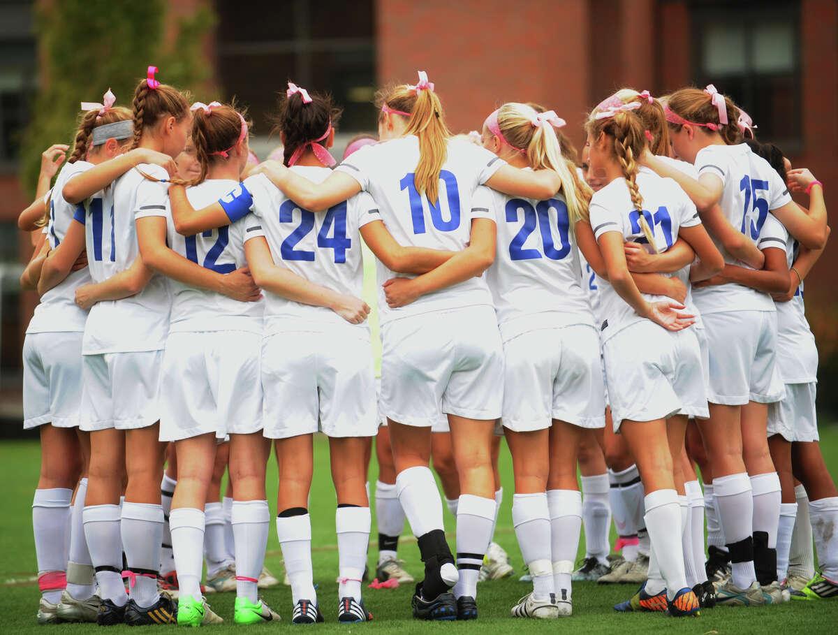 Darien v. Staples' girls soccer matchup at Darien High School on Monday, October 15, 2012.