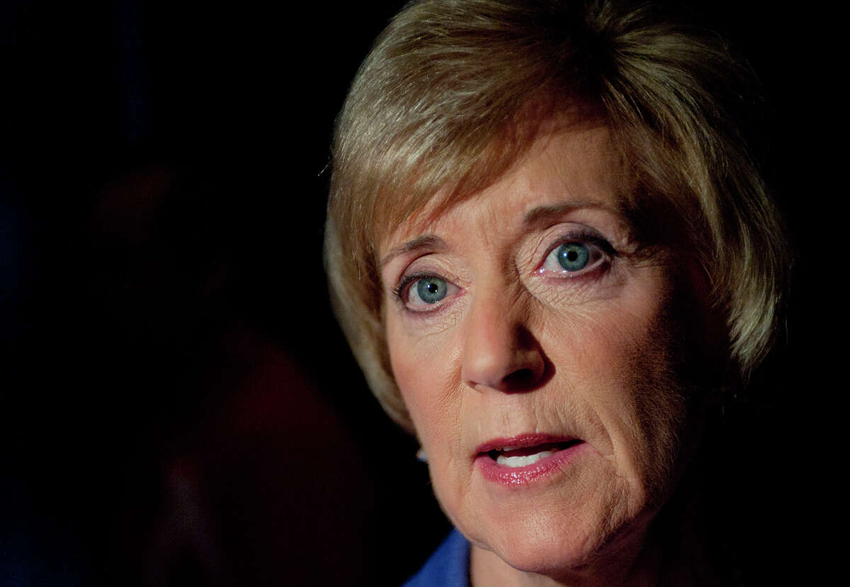 Republican candidate for U.S. Senate Linda McMahon speaks to the media after a debate against Democratic candidate, U.S. Rep. Chris Murphy, D-Conn., in New London, Conn., Monday, Oct. 15, 2012. (AP Photo/Jessica Hill)