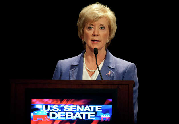 Republican candidate for U.S. Senate Linda McMahon speaks during a debate against Democratic candidate, U.S. Rep. Chris Murphy, D-Conn.  in New London, Conn., Monday, Oct. 15, 2012. The two are vying for the Senate seat now held by Joe Lieberman, an independent who's retiring. (AP Photo/Jessica Hill) Photo: AP