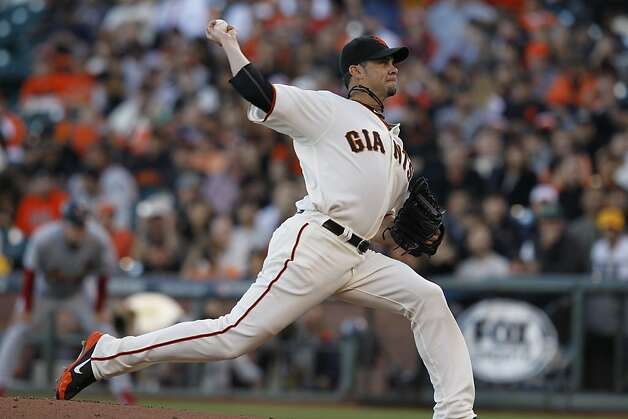 GiantsÕ pitcher Ryan Vogelsong throws during the first inning in game 2 of the NLCS on Monday, Oct. 15, 2012 at AT&T Park in San Francisco, Calif. Photo: Brant Ward, The Chronicle