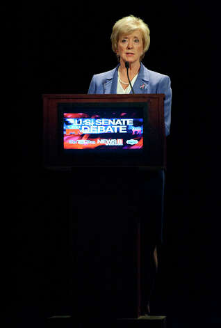 Republican candidate for U.S. Senate Linda McMahon speaks during a debate against Democratic candidate, U.S. Rep. Chris Murphy, D-Conn., in New London, Conn., Monday, Oct. 15, 2012. The two are vying for the Senate seat now held by Joe Lieberman, an independent who's retiring. (AP Photo/Jessica Hill) Photo: AP