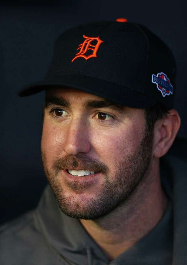 NEW YORK, NY - OCTOBER 13:  Justin Verlander #35 of the Detroit Tigers looks on during batting practice against the New York Yankees during Game One of the American League Championship Series at Yankee Stadium on October 13, 2012 in the Bronx borough of New York City, New York.  (Photo by Elsa/Getty Images) Photo: Elsa / 2012 Getty Images