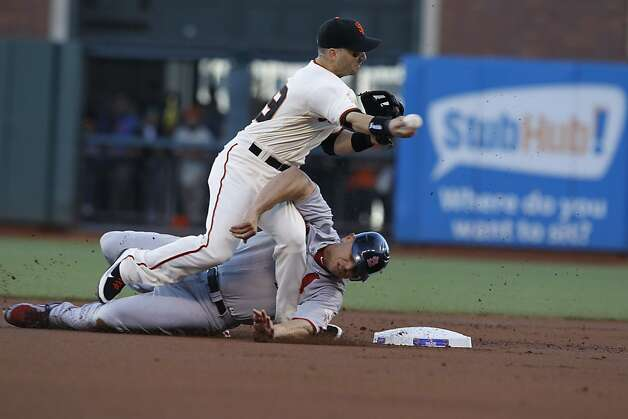 The Cards' Matt Holliday slides past the bag and into Giants second baseman Marco Scutaro. Photo: Brant Ward, The Chronicle