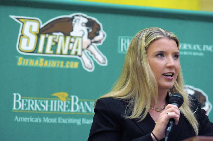 Head Coach Ali Jaques talks about her upcoming season during Siena women's basketball media day at t
