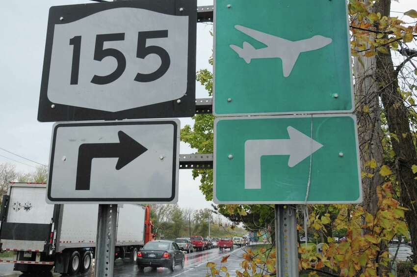 A view looking south on Wolf Rd, just down from exit 4 on I-87, on Monday, Oct. 15, 2012 in Colonie, NY. The direct link between Albany International Airport and the Northway has been on the drawing board for decades. Now, it looks like the plan is dead, leaving the airport as the only significant airport statewide without a direct link to an interstate highway. (Paul Buckowski / Times Union)