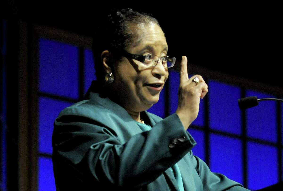 RPI President Shirley Jackson speaks during Rensselaer Polytechnic Institute's 10th annual Commencement Colloquy in Troy, N.Y. Friday May 25, 2012. (Michael P. Farrell/Times Union archive)
