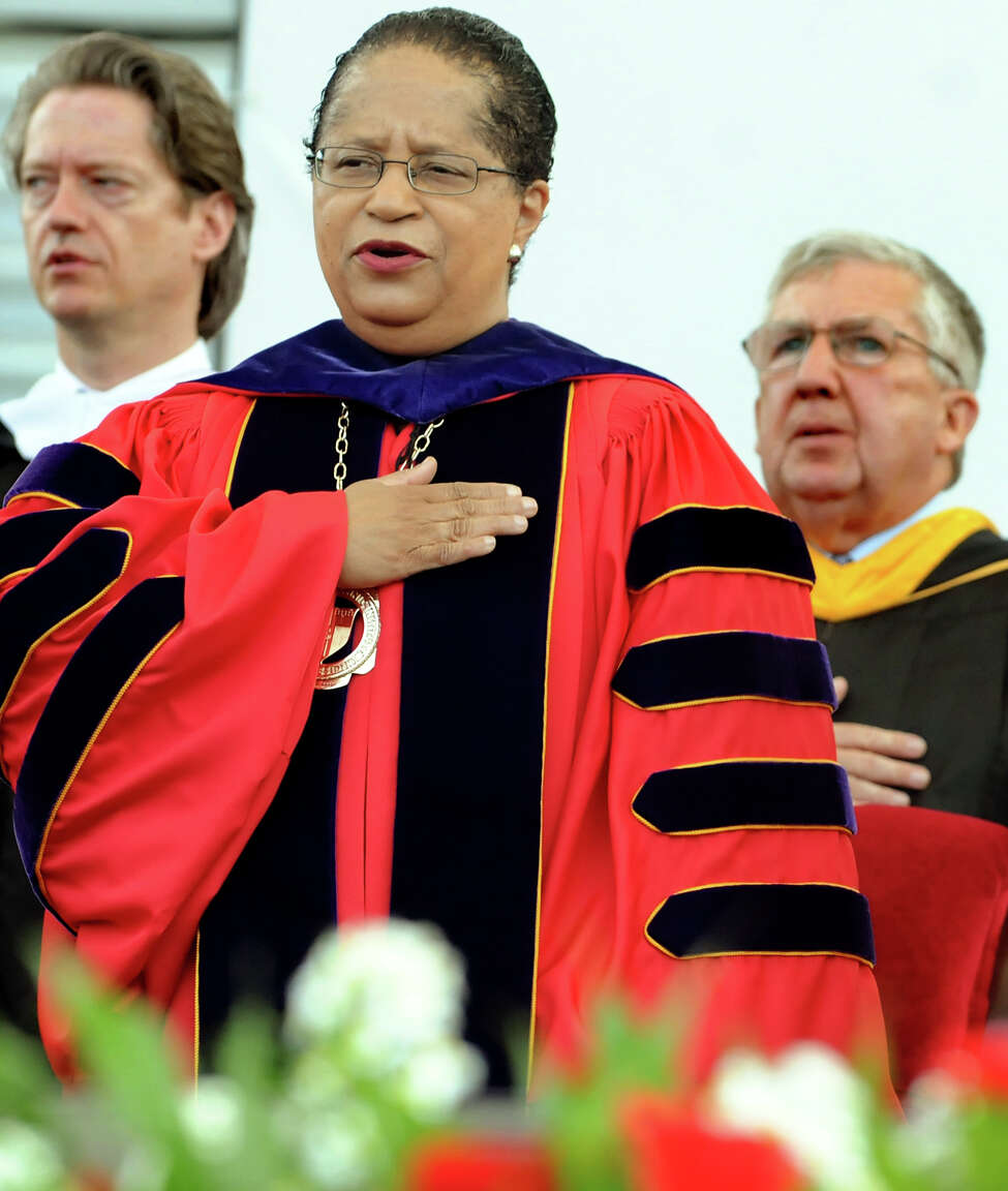 RPI president Shirley Ann Jackson joins in on singing the National Anthem during commencement exercises on Saturday, May 29, 2010, at Rensselaer Polytechnic Institute in Troy, N.Y. (Cindy Schultz / Times Union)