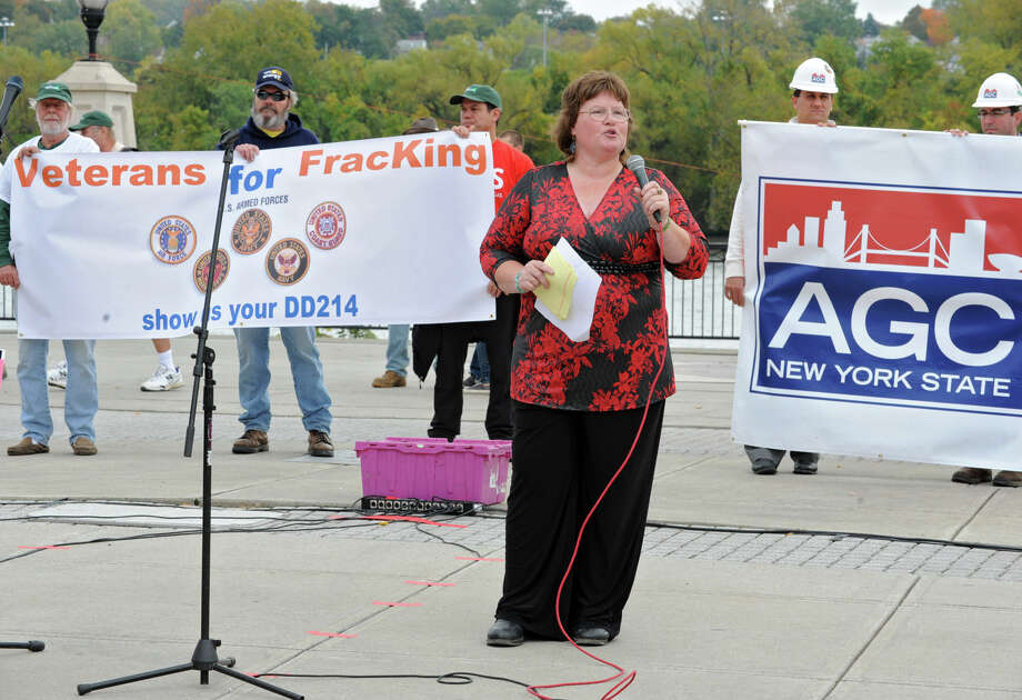 Hyrdofracking supporter Connie Lull of Schenevus speaks during a rally at the Corning Preserve on Monday, Oct. 15, 2012 in Albany, N.Y. The large group of hydrofracking supporters later marched up State St. to the Capitol and had another rally on the steps of West Capitol Park. (Lori Van Buren / Times Union) Photo: Lori Van Buren