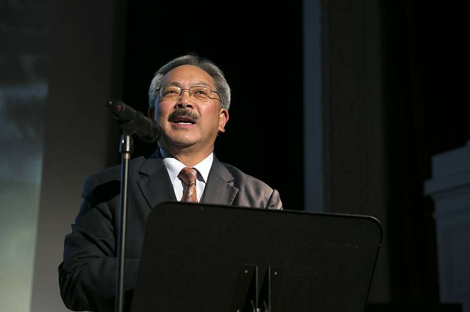 "San Francisco Mayor Ed Lee speaks to the crowd before a screening of the film ""Citizen Hearst"" at the Legion of Honor in San Francisco, Calf., on Monday, October 15, 2012.  The documentary tells the 125-year-long story of the media company. Photo: Laura Morton, Special To The Chronicle"