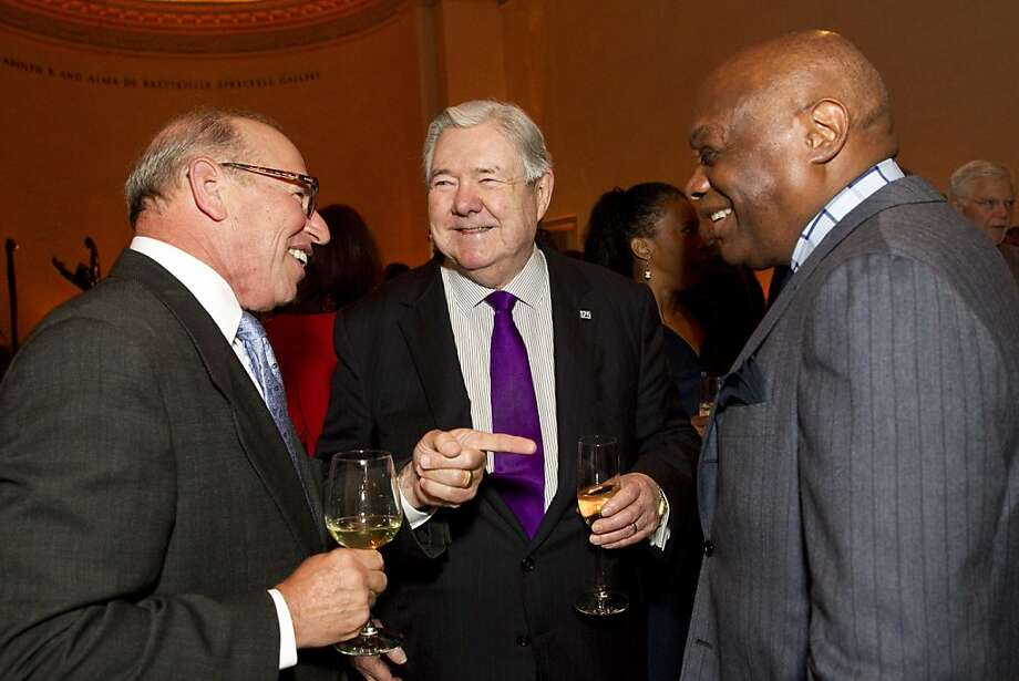 "Dino Dinovitz, Executive Director of the Hearst Foundations, speaks with Hearst Corporation CEO Frank A. Bennack Jr.  and former San Francisco Mayor Willie Brown (left to right) during a party before a screening of the film ""Citizen Hearst"" at the Legion of Honor in San Francisco, Calf., on Monday, October 15, 2012.  The documentary tells  the 125-year-long story of the media company. Photo: Laura Morton, Special To The Chronicle"