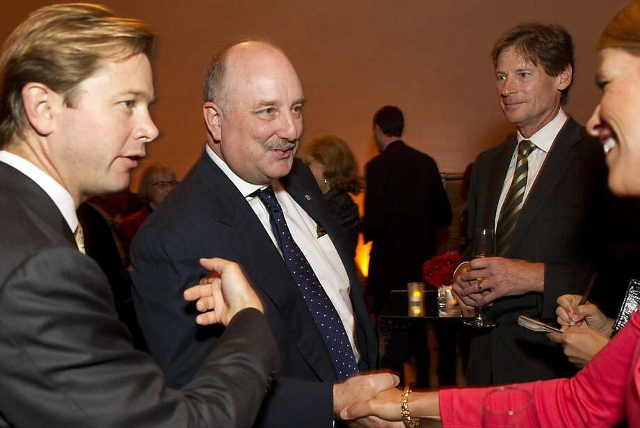 "Greg Dorn (left) introduces William Randolph Hearst III to Jane Dorn (right) during a party before a screening of the film ""Citizen Hearst"" at the Legion of Honor in San Francisco, Calf., on Monday, October 15, 2012.  The documentary tells the 125-year-long history of the media company. Photo: Laura Morton, Special To The Chronicle"