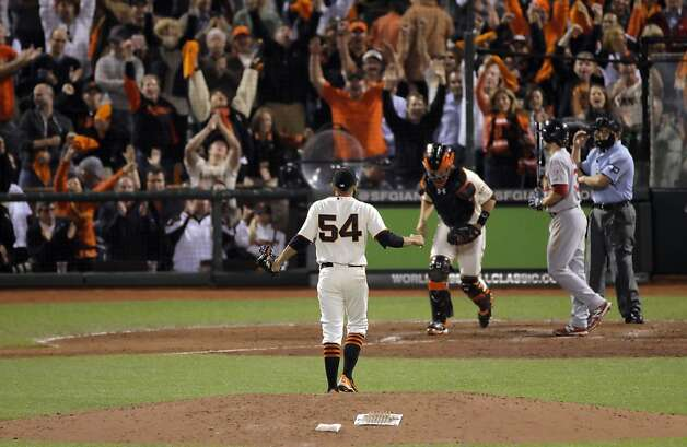Sergio Romo reacts to the final strikeout to the cheers of the crowd as the Giants defeated the Cardinals. The San Francisco Giants played the St. Louis Cardinals in Game 2 of the National League Championship Series on Monday, October 15, 2012, at AT&T Park in San Francisco, Calif. The Giants defeated the Cardinals 7-1. Photo: Carlos Avila Gonzalez, The Chronicle
