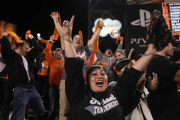 Ester Charlotte Nelson, of Vallejo, exults as Sergio Romo gets the final out and the Giants win Game 2 of the NLCS against the St. Louis Cardinals at AT&T Park Monday, October 15, 2012 in San Francisco, Calif. Photo: Pete Kiehart, The Chronicle