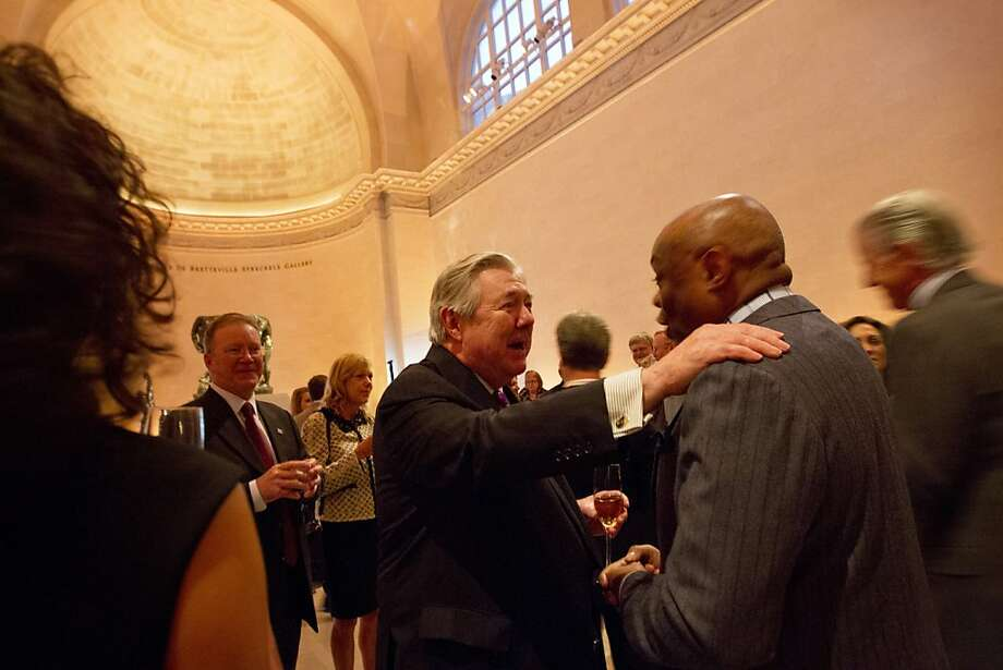 Hearst Corporation CEO, Frank A. Bennack talks with former San Francisco Mayor, Willie Brown at the Legion of Honor in San Francisco before a screening of Citizen Hearst, a new documentary about William Randolph Hearst, Monday night, October 15, 20012. Photo: Erin Lubin, Special To The Chronicle
