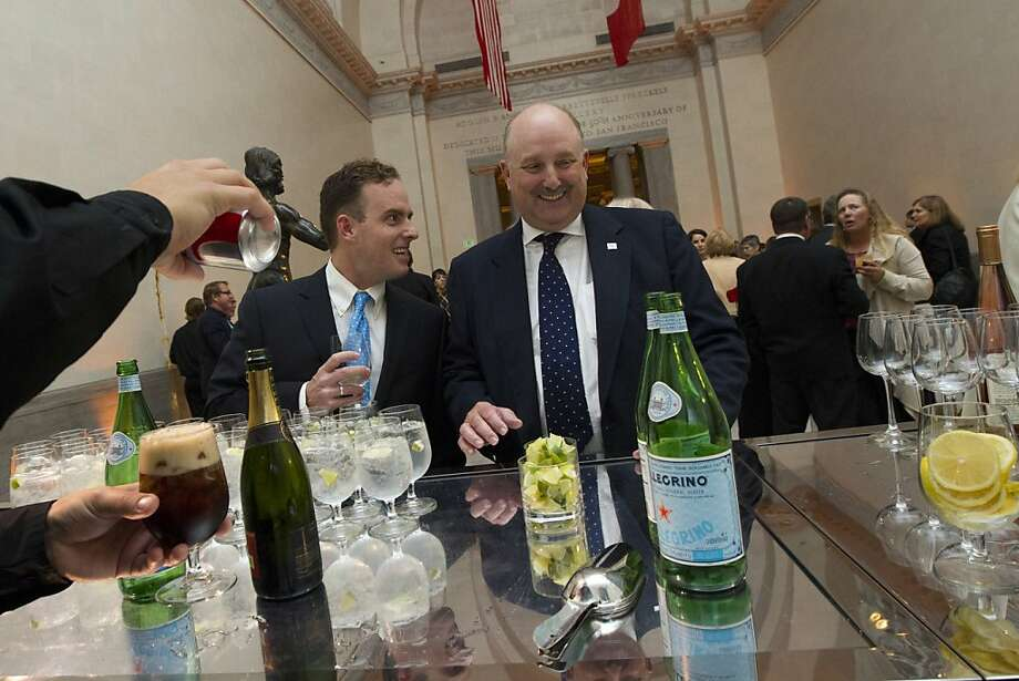 Will Hearst, left, and his father, William Randolph Hearst III, right, get a drink at the Legion of Honor in San Francisco during a reception before a screening of Citizen Hearst, a new documentary about William Randolph Hearst on Monday, October 15, 2012. Photo: Erin Lubin, Special To The Chronicle