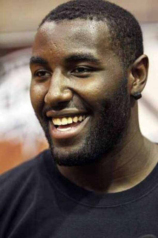 SPORTS   DeJuan Blair visits the Spurs/Silver Stars summer camp at The University of the Incarnate Word Thursday, August 5, 2010.   Tom Reel/Staff (TOM REEL / SAN ANTONIO EXPRESS-NEWS)