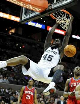 San Antonio Spurs forward DeJuan Blair (45) dunks  during a NBA basketball game between the Philadelphia 76ers and the San Antonio Spurs at the AT&T Center in San Antonio, Texas on March 25, 2012.John Albright / Special to the Express-News. (San Antonio Express-News)