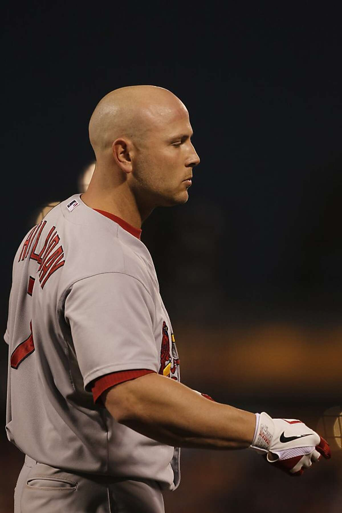 Cardinals' outfielder Matt Holliday is seen during game 2 of the NLCS at AT&T Park on Monday, Oct. 15, 2012 in San Francisco, Calif.