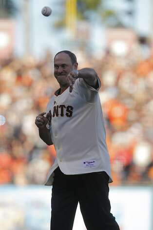 Former Giant Will Clark throws out the first pitch prior to game 1 of the NLCS at AT&T Park on Sunday, Oct. 14, 2012 in San Francisco, Calif. Photo: Lea Suzuki, The Chronicle