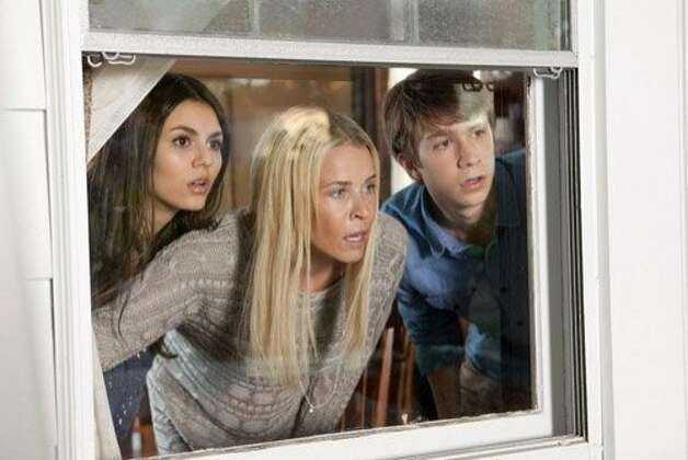 "Victoria Justice (left), Chelsea Handler and Thomas Mann  in the comedy ""Fun Size,"" opening Friday. Photo: Paramount Pictures"