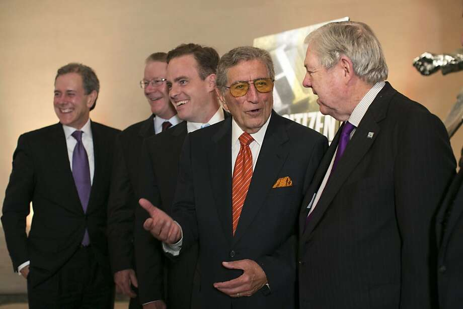 "Steven Swartz, Stephen Hearst, William Dedalus Hearst, Tony Bennett and Frank A. Bennack Jr. (left to right) prepare to take a group photo after a party for the film ""Citizen Hearst"" at the Legion of Honor in San Francisco, Calf., on Monday, October 15, 2012.  Bennett sung at the party, which followed a screening of the film. Photo: Laura Morton, Special To The Chronicle"
