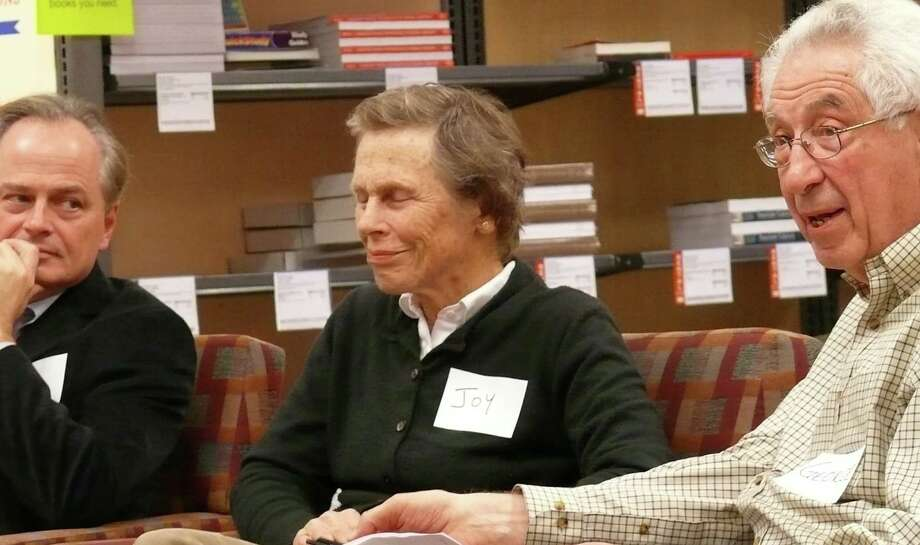 """Members of the Concerned Citizens group -- from left, Ed Bateson, Joy Shaw and George Bisacca -- at roundtable discussion Monday about parallels between their successful challenge of Conservation Director Thomas Steinke's removal from the Fairfield Metro project and the classic drama, """"Enemy of the People."""" Photo: Genevieve Reilly / Fairfield Citizen"""