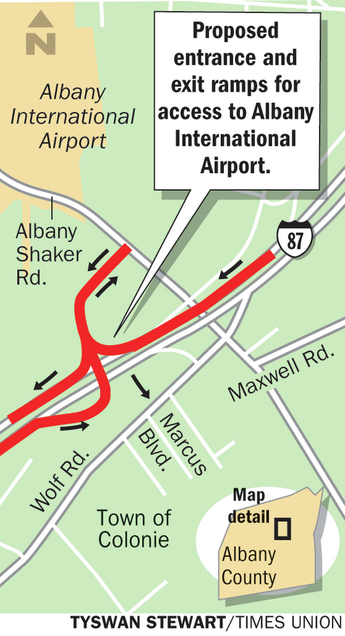 Proposed updates to Exit 4 of the Northway. Tyswan Stewart/Times Union