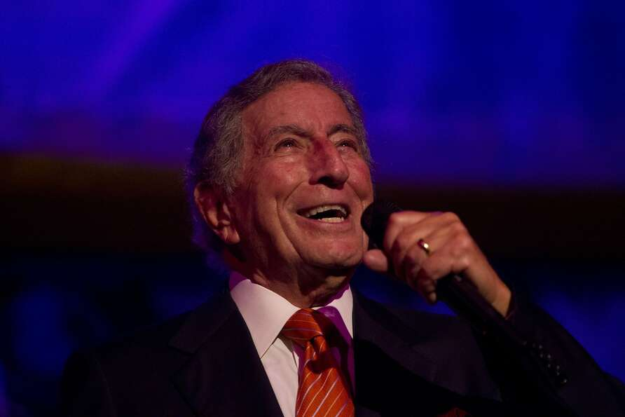 Tony Bennett performs during a reception following the screening of Citizen Hearst, a new documentar