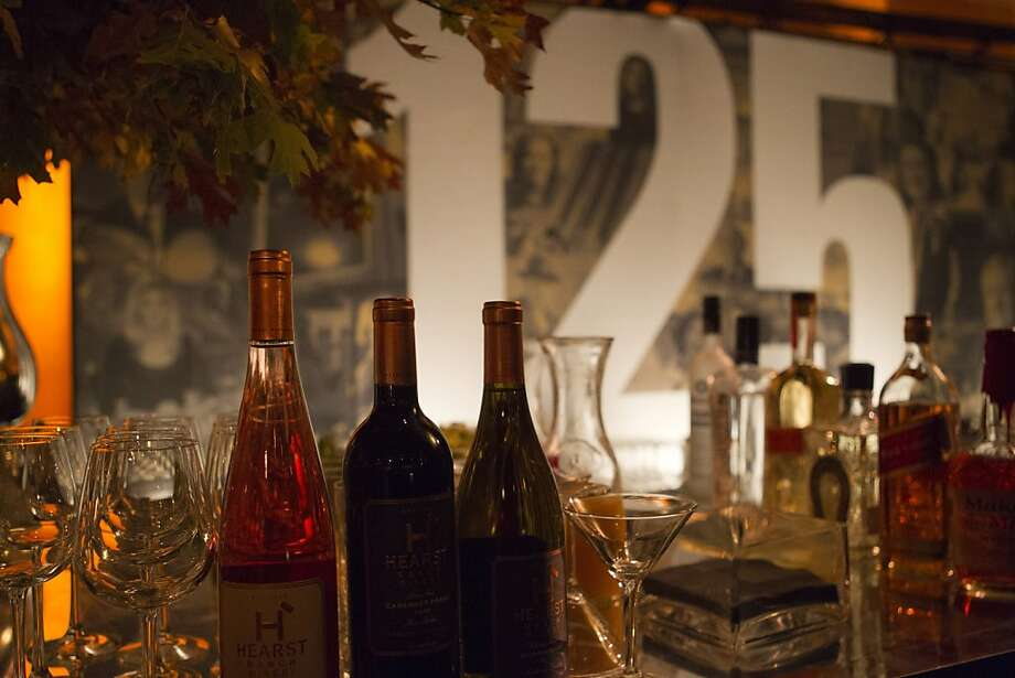 Wine from the Hearst ranch is served during a reception following the screening of Citizen Hearst, a new documentary about William Randolph Hearst, directed by Leslie Iwerks, at the Legion of Honor in San Francisco on Monday, October 15, 2012. Photo: Erin Lubin, Special To The Chronicle