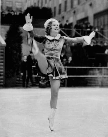Celebrities have always been an attraction at the rink.Sonja Henie skates is seen at a figure skating exhibition at New York's Rockefeller Center skating rink, February 12, 1937. Photo: ASSOCIATED PRESS / AP1937