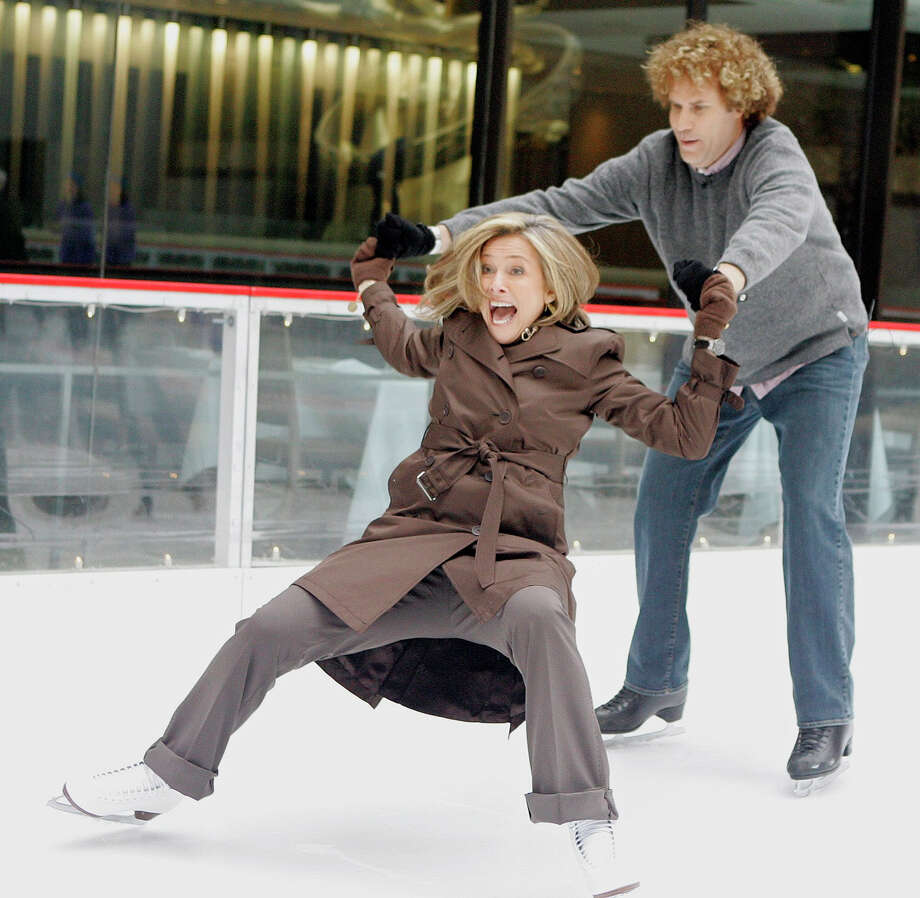 "Other celebrities are less graceful: Meredith Vieira, co-host of the NBC ""Today"" television program, attempts a figure skating maneuver with actor Will Ferrell. Photo: RICHARD DREW, ASSOCIATED PRESS / AP2007"