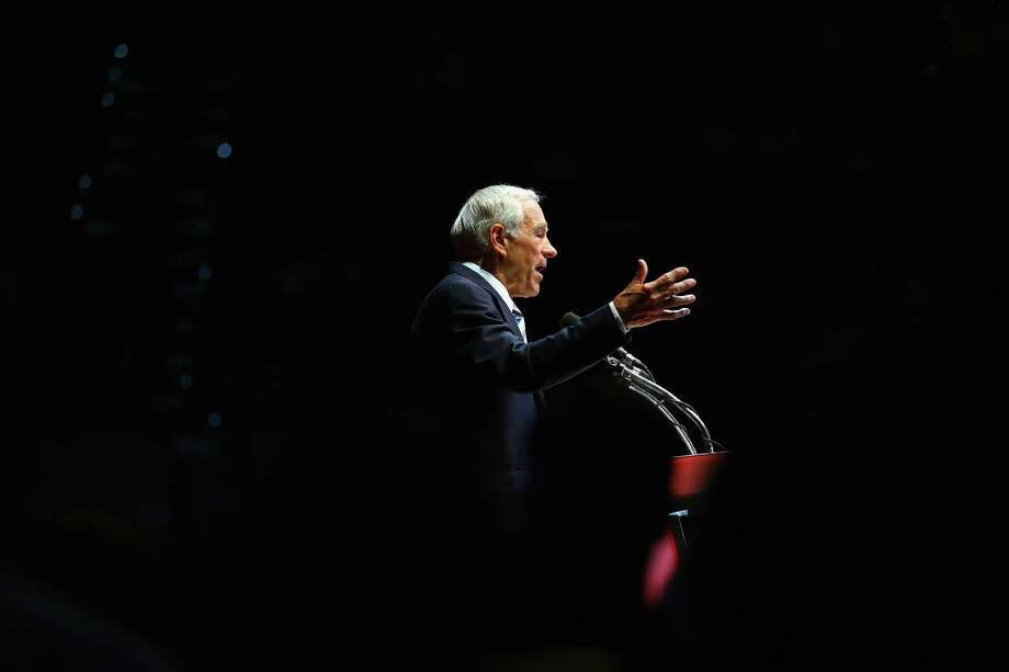 TAMPA, FL - AUGUST 26:  Former Republican presidential candidate U.S. Rep. Ron Paul (R-TX) speaks during a rally in the Sun Dome at the University of South Florida on August 26, 2012 in Tampa, Florida.   The rally was being held on the eve of the start of the Republican's nominating convention which is scheduled to convene on August 27 and will hold its first session on August 28 as Tropical Storm Isaac threatens disruptions due to its proximity to the Florida. Photo: Joe Raedle, Getty Images / 2012 Getty Images