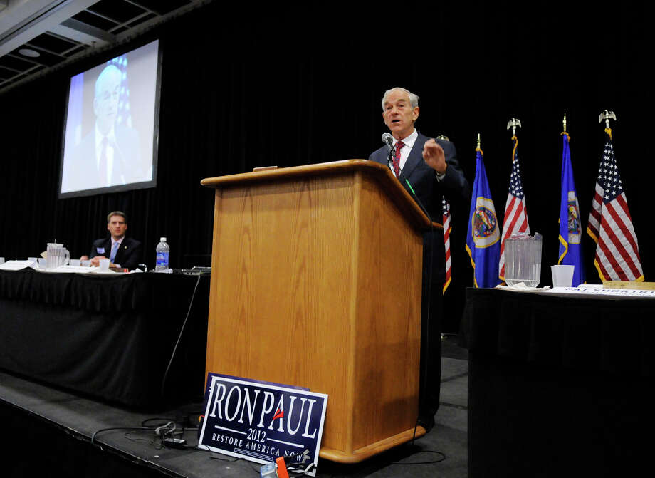 Presidential candidate Ron Paul speaks to delegates at the Minnesota Republican State Convention Friday, May 18, 2012, in St. Cloud, Minn. Photo: Dave Schwarz, Associated Press / ST. CLOUD TIMES